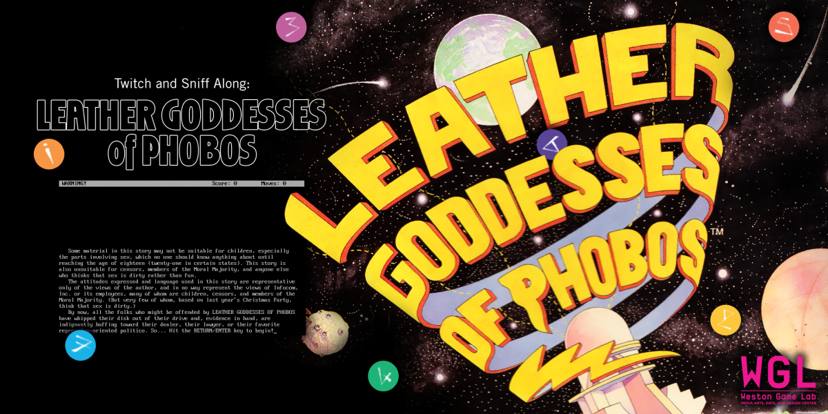 Twitch and Sniff Along: Leather Goddesses of Phobos promotional art featuring planets in space.
