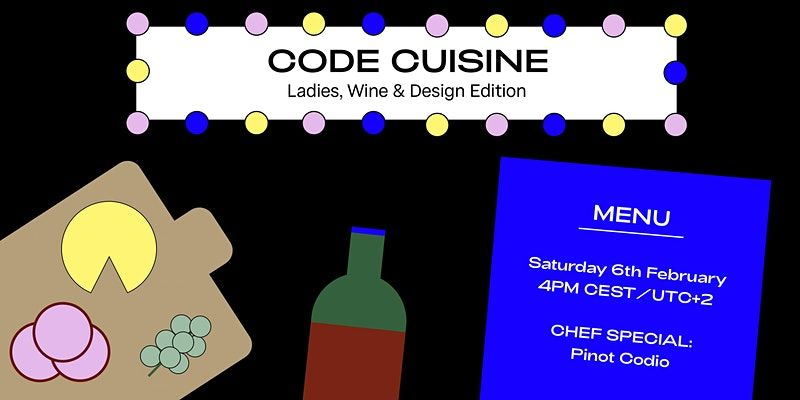 An illustration of a charcuterie plate and bottle of wine with the event information: Saturday 6th February, 4PM UTC+2