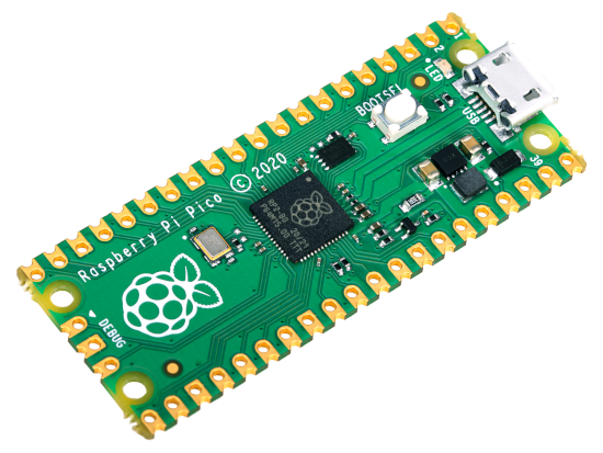 A photo of the new Raspberry Pi Pico microcontroller.