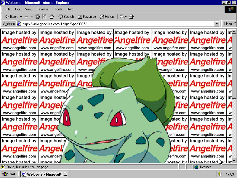 It's a beautiful bulbasaur, floating in front of a wall of Angelfire cross origin image blocks.