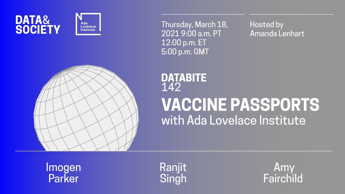 A virtual flyer for Data & Society's Vaccine Passports event, including a blocky illustration of a globe.
