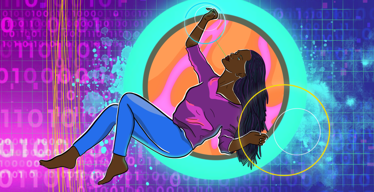 A Black woman floating in a beautiful cybernetic void.