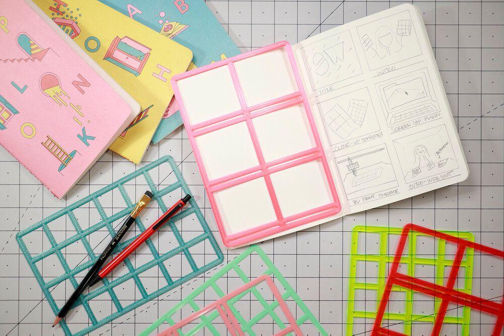 Sketchbook templates overlaid on a sketchbook.