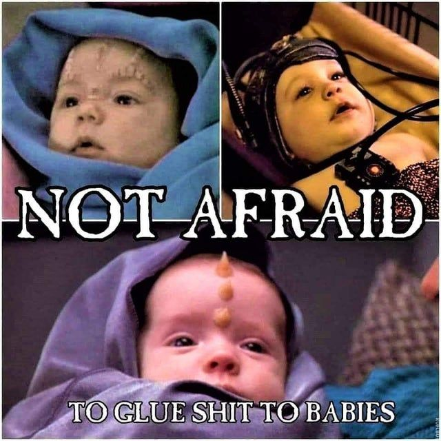 it's babies, but with shit glued onto their heads. sci fi!