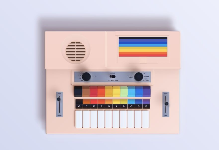 A beautiful image of a synthesizer, made with pure CSS.