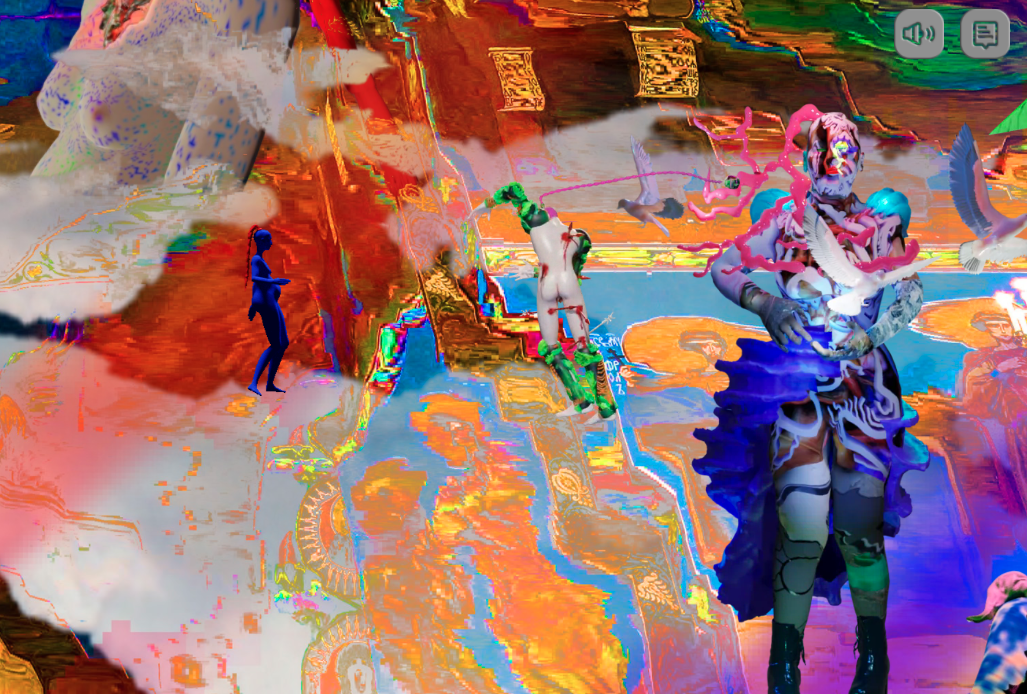"""A cyber psychedelic screenshot from """"The Life of Saint Fiona Bianco Xena"""""""