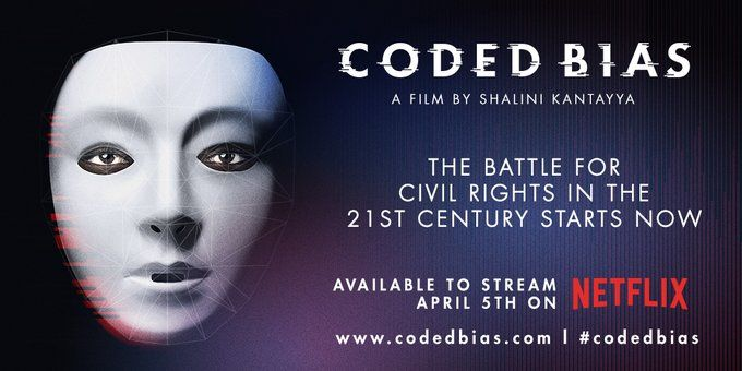 Promotional image for Coded Bias, featuring a mask covered in a tracking map.