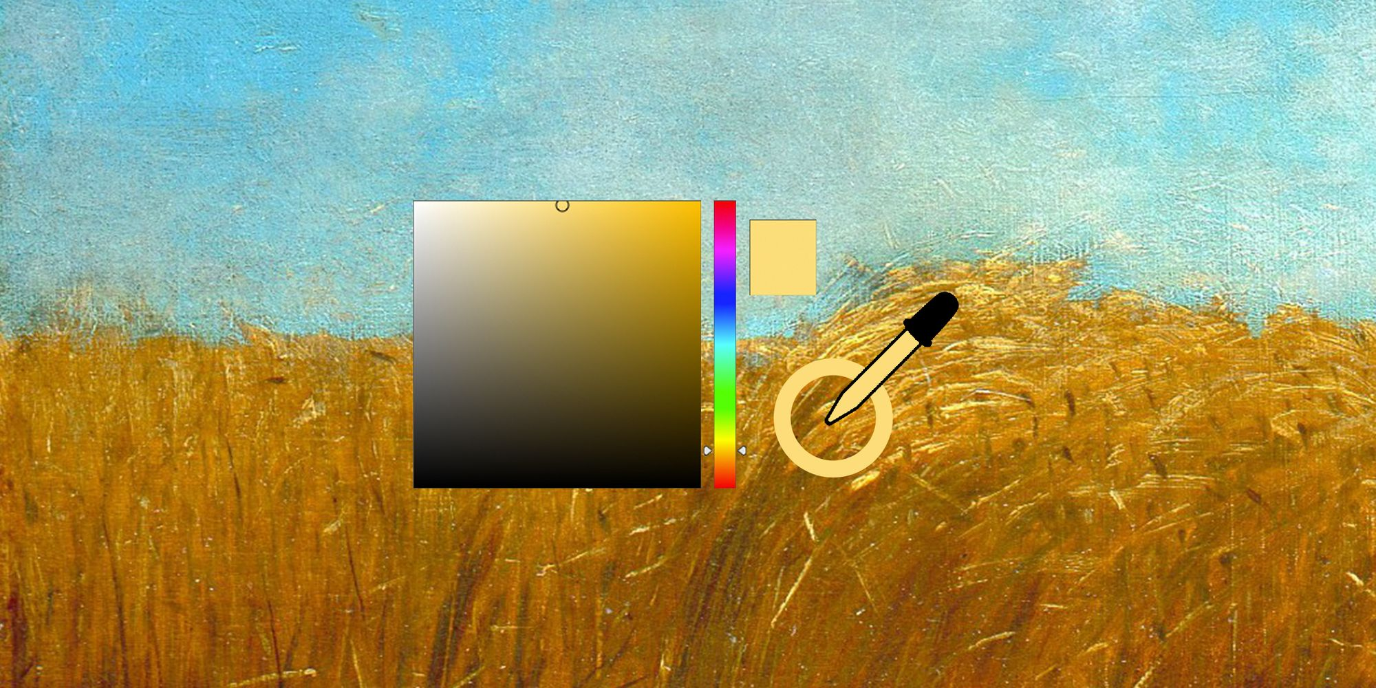 An eyedropper selecting a lovely shade of yellow from a painting of a field.
