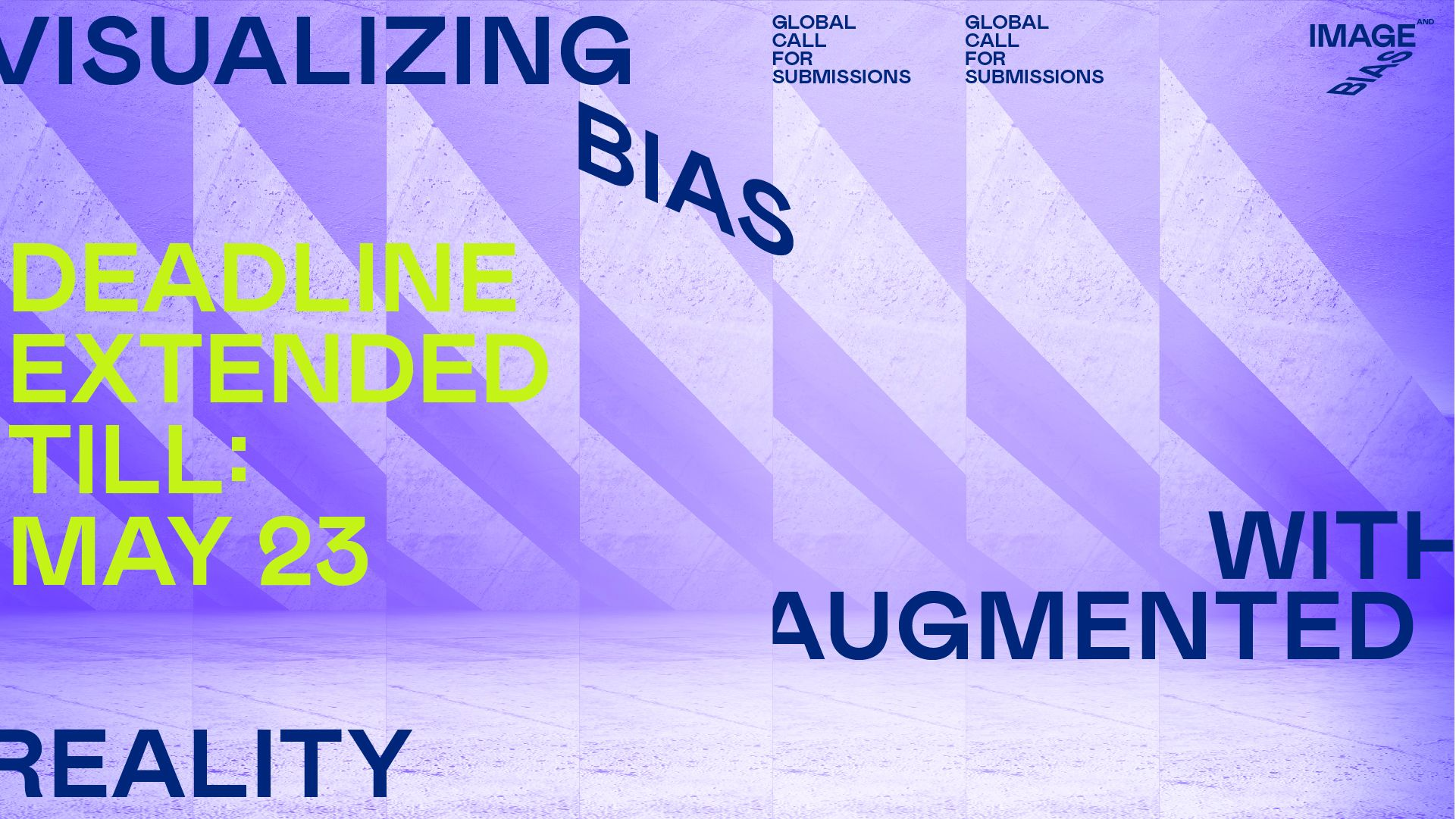 a purplish, distorted image of an open space with information about the Visualizing Bias open call.